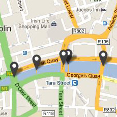 A map showing the various locations of bridges around Dublin